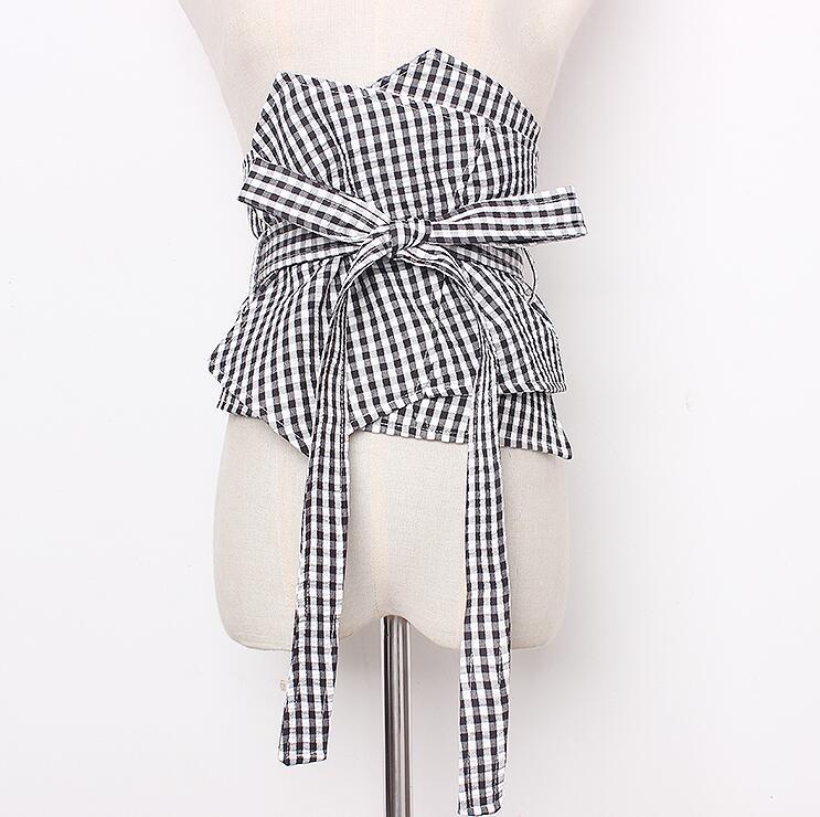 Women's Runway Fashion Plaid Fabric Bow Cummerbunds Female Dress Corsets Waistband Belts Decoration Wide Belt R1673