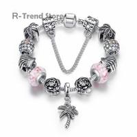 Tree Flower Plant Charm Bracelet Women Pink Bracelets Bangles For Female Crystal Beads Jewelry PA1877