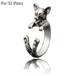 Fei ye patas punk do vintage 3d chihuahua wrap anel moda hippie chihuahua cão anel boho chique animal anéis para mulheres bijuterias masculinas