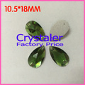 Free Shipping, 140pcs/Lot, 10.5*18mm Green sew on teardrop stones flat back Glass sew on rhinestones