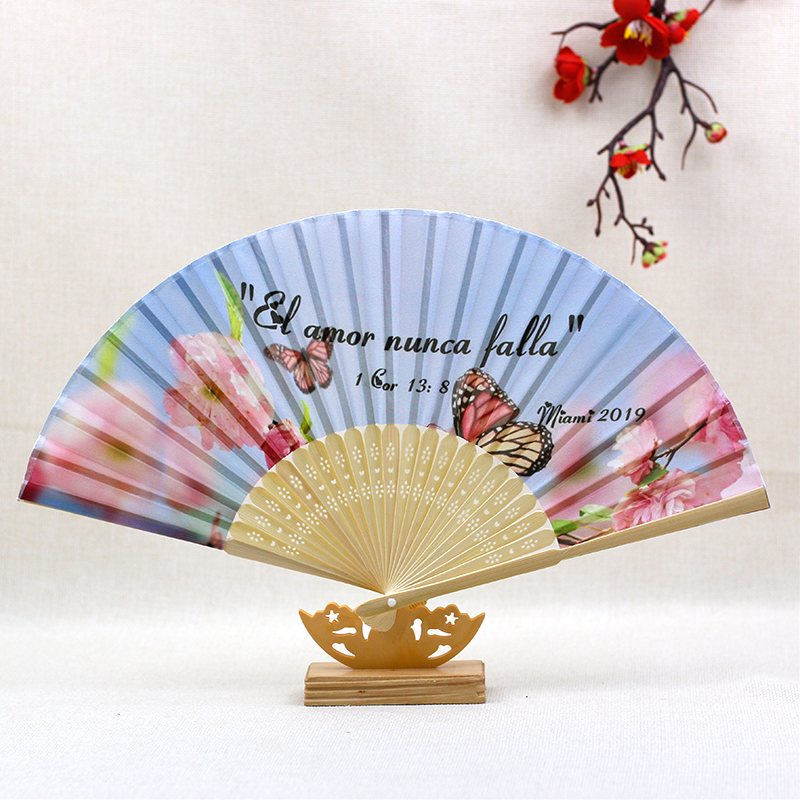 Custom Personalized logo Hand Folding Elegant Silk Hand Fan Wedding Party Decoration Favors 20kinds colors