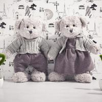 Kawaii 2pc 45cm Teddy Bear Appease Baby Couple Bears Plush Soft Huggable Doll Animal Stuffed Toy For Girls Kids Lover Best Gift