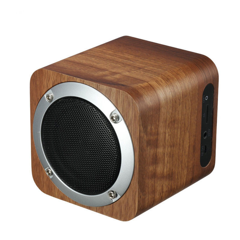 Fashion cube Retro wooden bluetooth speaker wood square radio FM vibro woofer boombox caixa de som