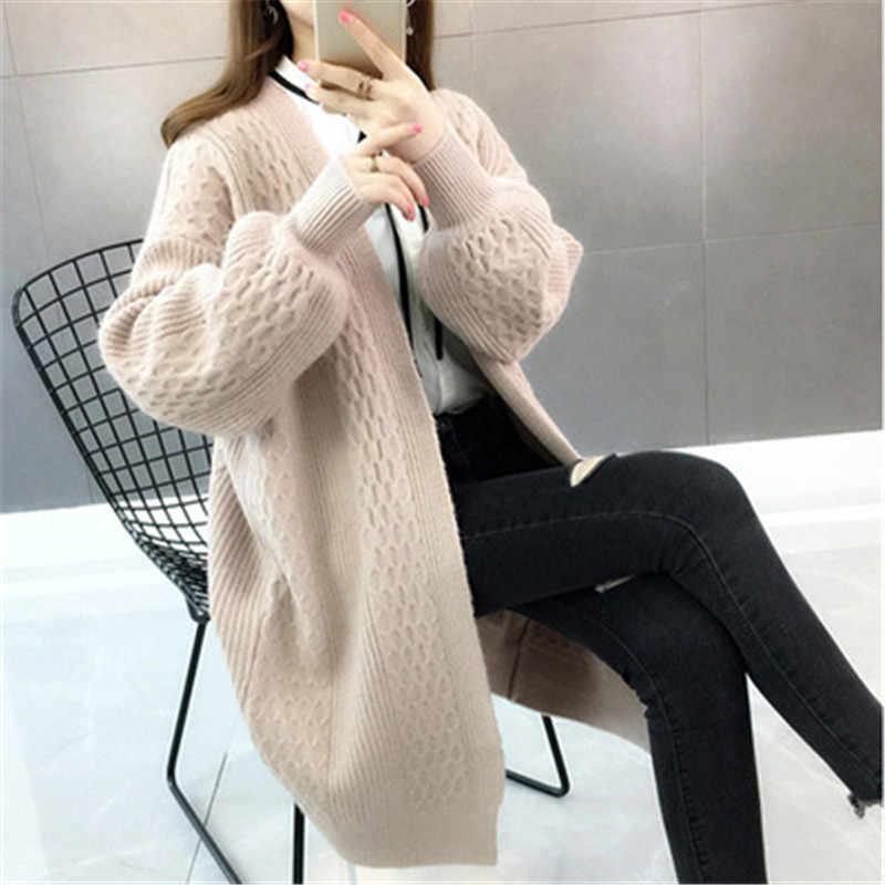Новый женский зимний свитер кардиганы 2019 мода длинный рукав женские трикотажные куртки v-образный вырез толстый вязаный кардиган пальто PZ1383