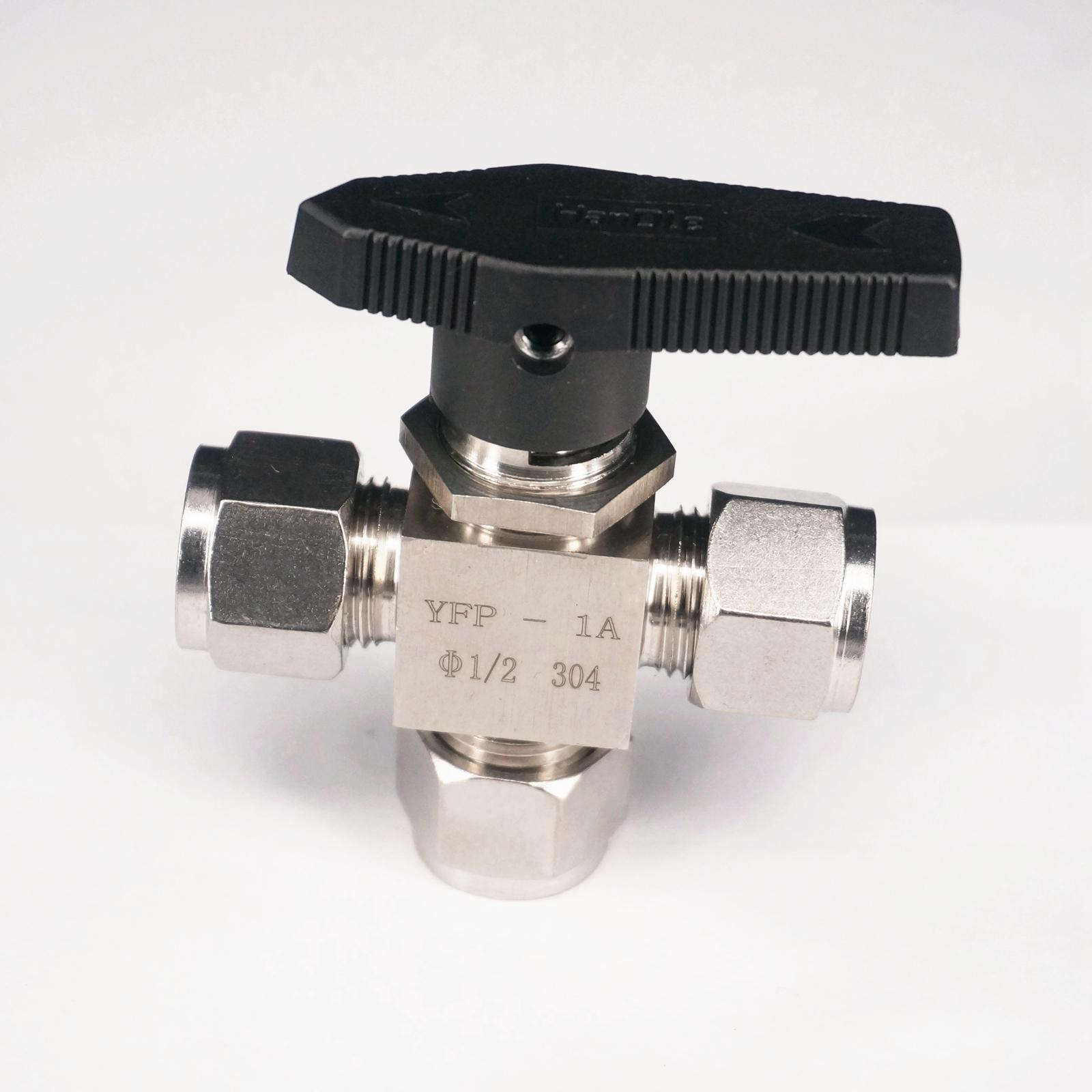 304 Stainless steel Tee 3 Ways Compression fitting shut off Ball Valve 915 PSI PN 6.4 Fit For 1/2 inch O/D Tube 1 2 bsp female 304 stainless steel flow control shut off needle valve 915 psi water gas oil