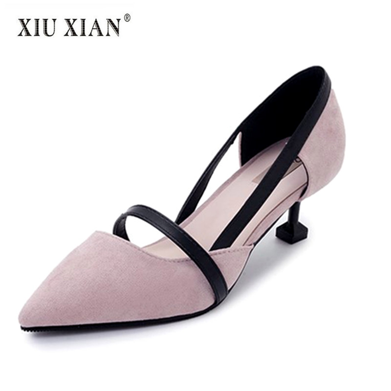 2018 New Design Pointed Toe Suede Women Pumps Comfort Thin Heel Shallow Summer Office Lady Casual Pumps Fashion All-match Shoes new genuine leather superstar solid thick heel zipper gladiator women pumps pointed toe office lady nude runway casual shoes l88