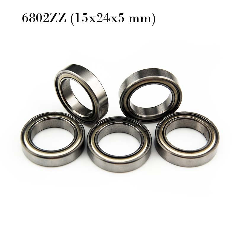 (10 PCS) <font><b>6802ZZ</b></font> (15x24x5 mm) Metal Shielded Ball Bearing Bearings 6802z image