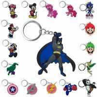 1pcs Keychain del PVC Figura di Cartone Animato Super hero Avengers Super Mario Mickey Tinkerbell Chiave Anello Chiave Della Catena Chiave del Supporto di Moda pendenti e Ciondoli