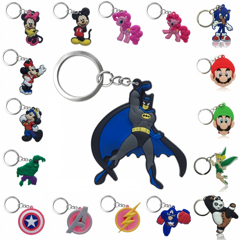 1pcs PVC Keychain Cartoon Figure Super Hero Avengers Super Mario Mickey Tinkerbell Key Chain Key Ring Key Holder Fashion Charms