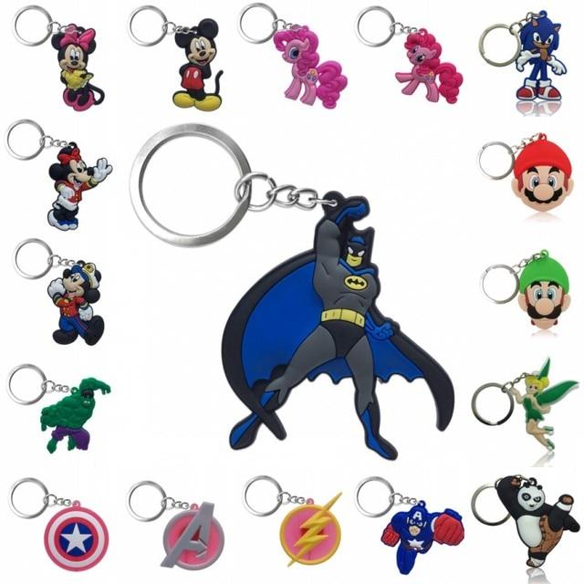 1pcs PVC Keychain Cartoon Figure Super Hero Avengers Super Mario Mickey Tinkerbell Key Chain Key Ring Key Holder Fashion Charms