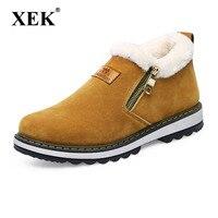 XEK 2018 New Arrival Fashion Winter Men Boots Wear Resistant Handmade Ankle Boots Warm Working Boot Zipper Men Shoes ZLL368