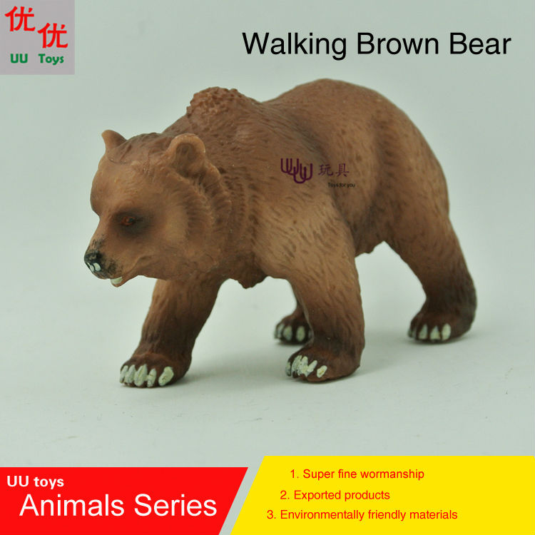Hot toys:Walking Brown Bear Simulation model Animals kids toys children educational props easyway zoo mini wild animals action figures set figurines kids toys for children wildlife toys simulation animal model toy bear