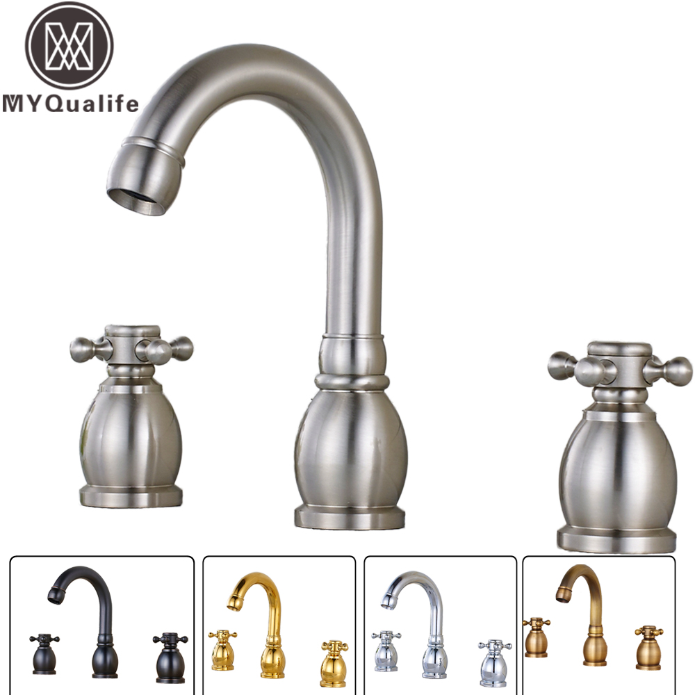 Widespread Basin Faucet Dual Handle Bathroom Sink Mixer Tap Tub Sink Mixer Faucet Deck Mounted 3 Holes Hot Cold Faucet