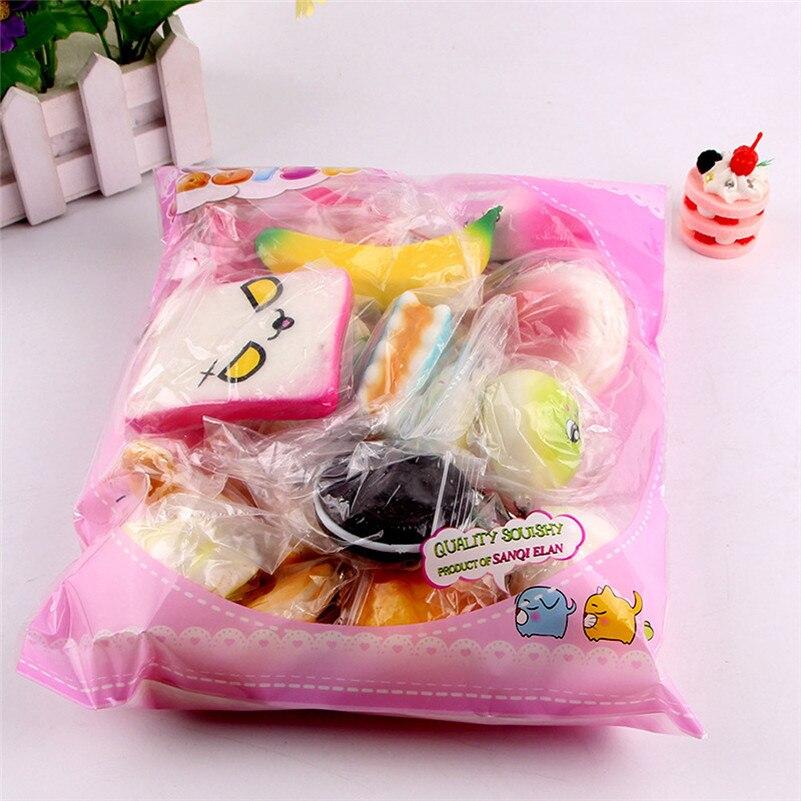 10pcs Médio Mini pacote mole Mole Pão Macio bonito Brinquedos Chave subindo toalhetes anti-stress brinquedos A1