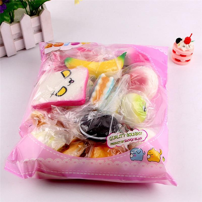 10pcs Medium Mini Soft Squishy Bread Cute Squishy Package Toys Key   Rising Wipes Anti-stress Toys A1