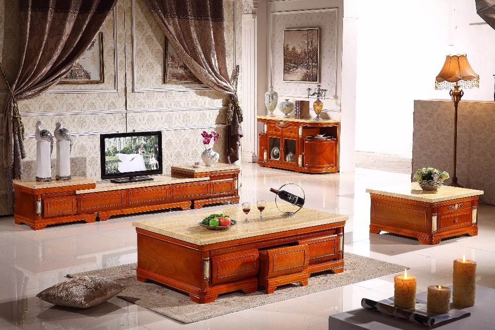 antique wooden living room set coffee table+end table+console table+TV stand made in China furniture 2016 real promotion antique no cam sehpalar side table living room furniture classic wooden coffee table with marble desktop