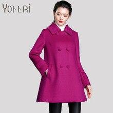 YOFEAI 2016 Women's Coats & JacketsFashion Double Breasted Woolen Coats Autumn Winter Long Style Coats Casaco Feminino Plus Size