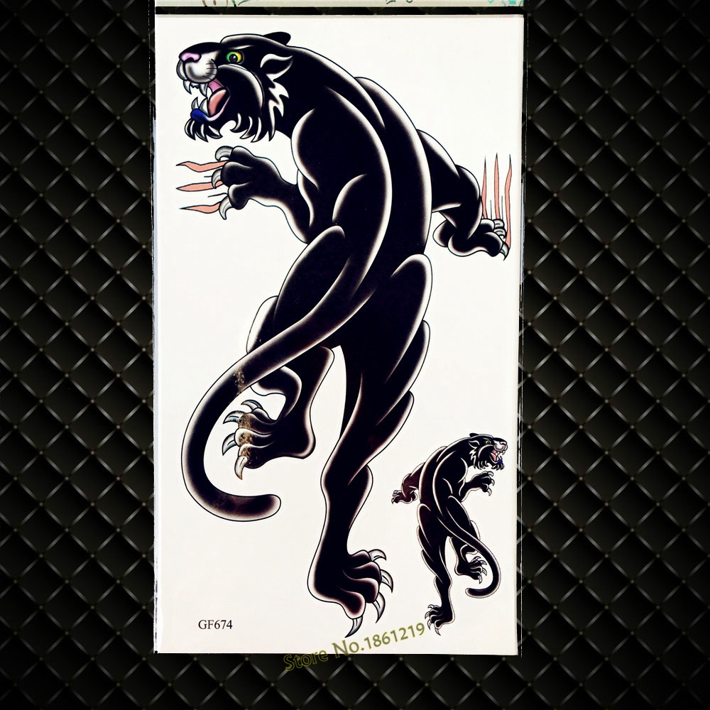 3d black leopard temporary tattoo panther waterproof fake henna tattoo for women legs ggf674 large body