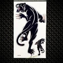 3D Black Leopard Temporary Tattoo Panther Waterproof Fake Henna Tattoo For Women Legs GGF674 Large Body Arm Men Tattoo Sticker