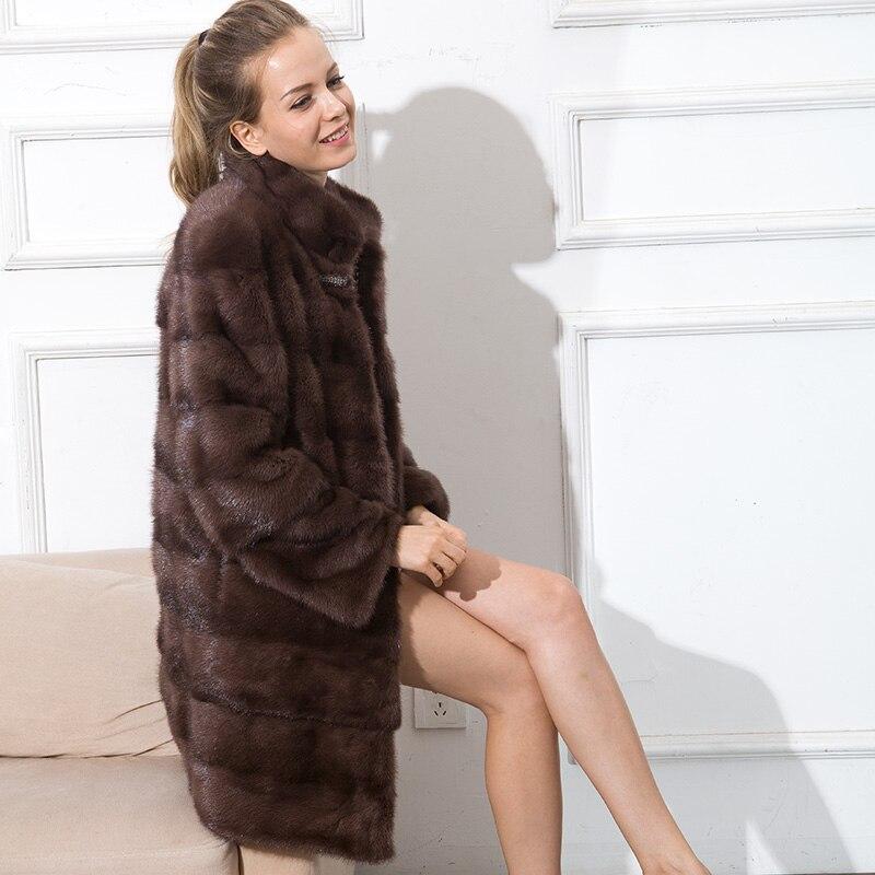 CNEGOVIK femmes manteau de fourrure de vison manteau réel fourrure de vison manteaux femmes stand col 90 CM