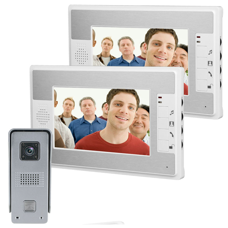 Free Shipping! 7 inch color  Video Door Phone Doorbell Intercom Kit 1-camera 2-monitor Night Vision high definitionFree Shipping! 7 inch color  Video Door Phone Doorbell Intercom Kit 1-camera 2-monitor Night Vision high definition