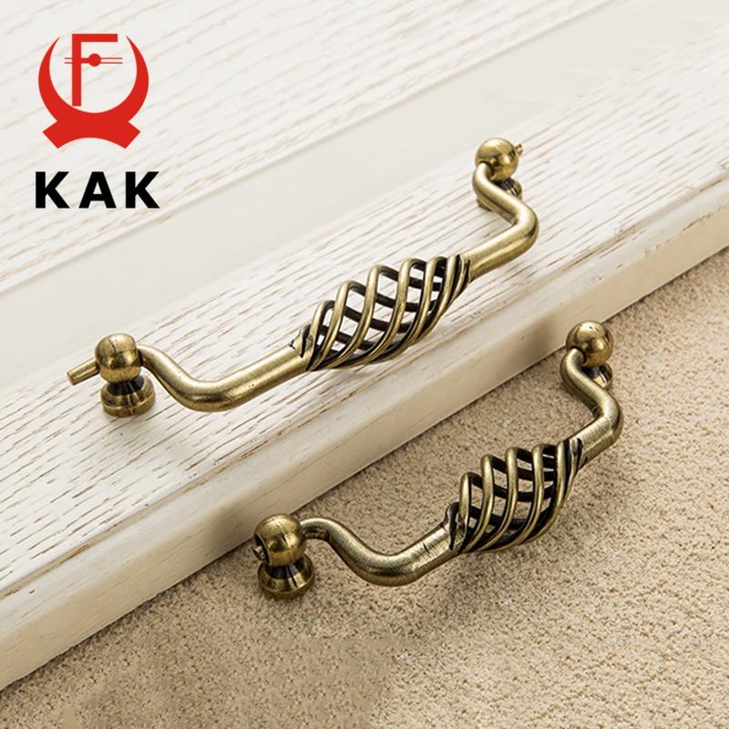 KAK винтажные антикварные бронзовые ручки для шкафа, полые ручки для птичьей клетки, ручки для выдвижных ящиков, Съемники дверей шкафа, Мебельная ручка