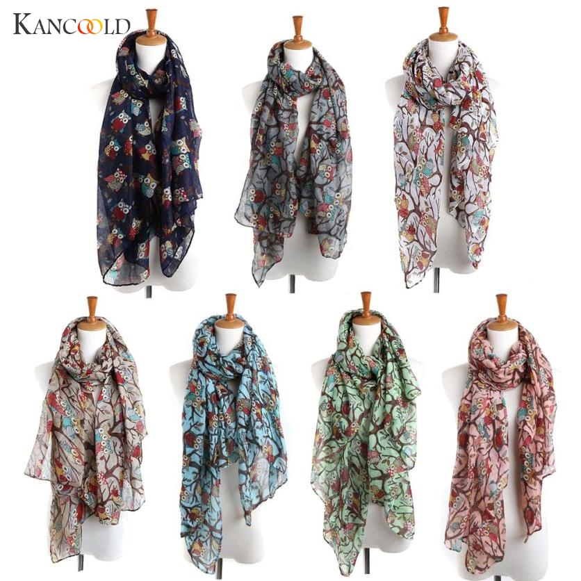 KANCOOLD women scarf socks Women silk scarf Ladies Owl Print Long Scarf Warm Wrap Shawl Style APR13