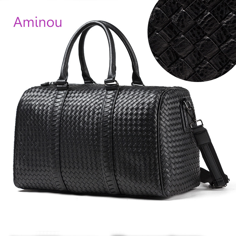 Aminou Brand Large Shoulder Bag Totes For Ladies High Quality Gym Travel Boston Bag Big Foldable Crossbody Bags Weave Women Bags Сумка