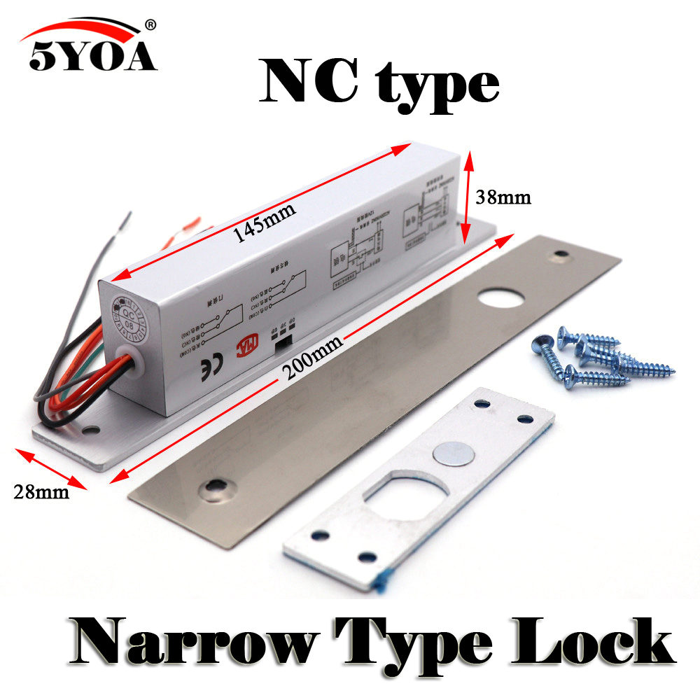 Narrow Door Electric Bolt Mortise Lock for Door Lock Access Control DC 12V Stainless Steel Fail Safe Secure NC NO Electronic Narrow Door Electric Bolt Mortise Lock for Door Lock Access Control DC 12V Stainless Steel Fail Safe Secure NC NO Electronic