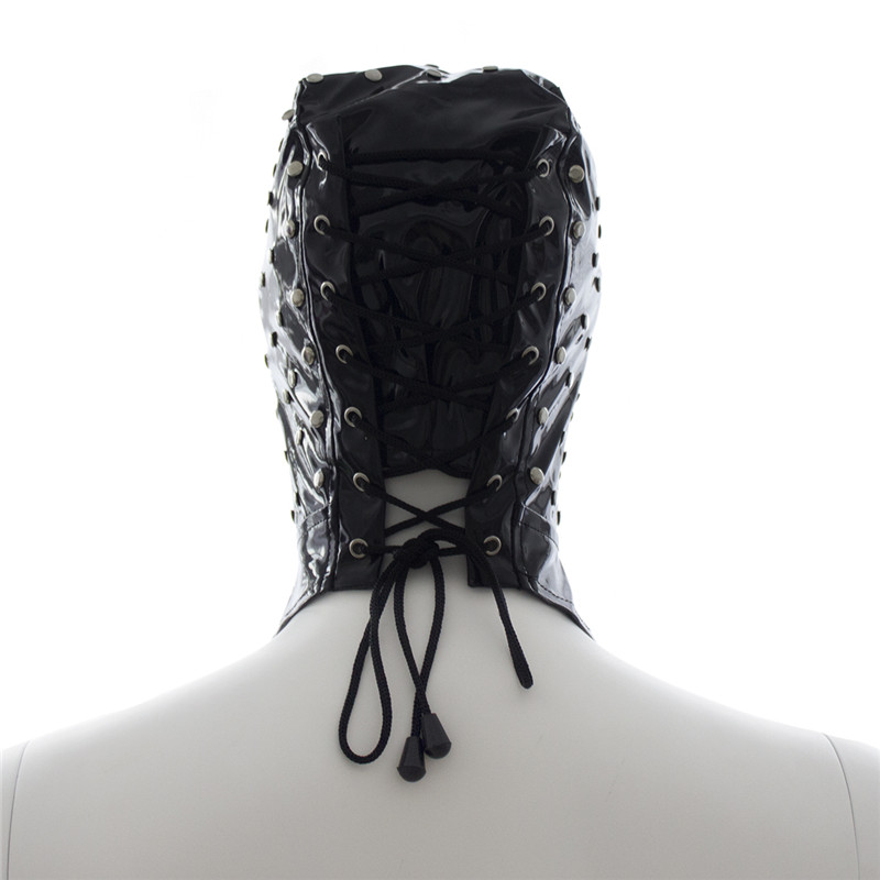 Adult Slave Game Mask Hood Patent Leather Faux Latex Blindfold Fetish bdsm Bondage Mask Sex Toys for Men Gays Erotic Products