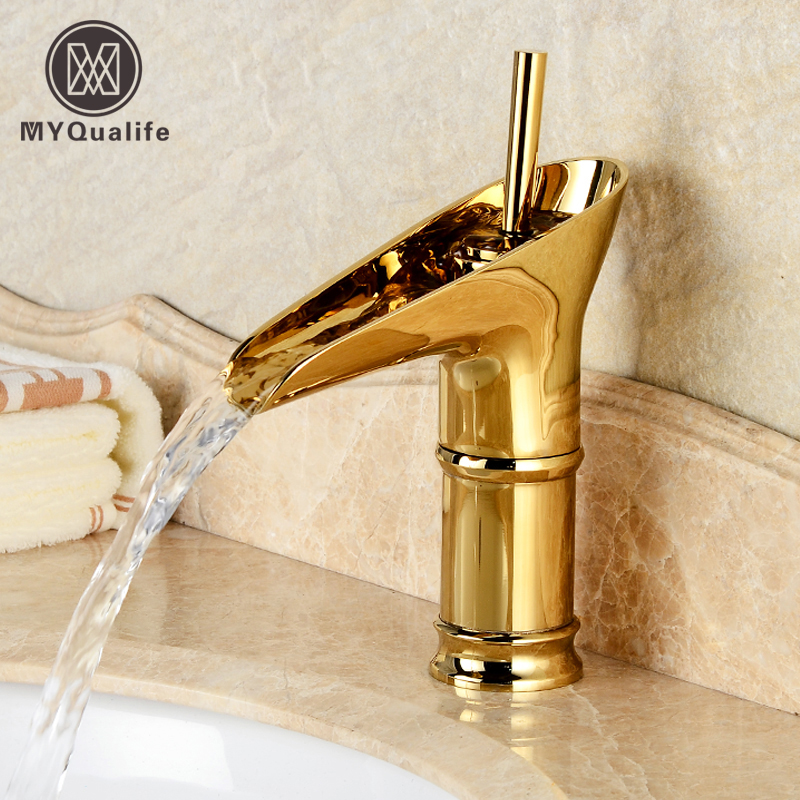 Free Shipping Wholesale And Retail Classic Single Top Lever Waterfall Basin Mixer Faucet Gold Color Basin Sink Taps pastoralism and agriculture pennar basin india