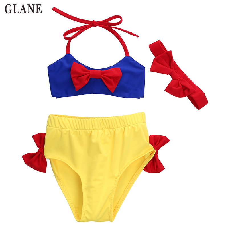 2-7T Children swimwear Two piece swimwear baby kids biquini infantil swimsuit girl 2017 summer Snow White Bikini bathing suit