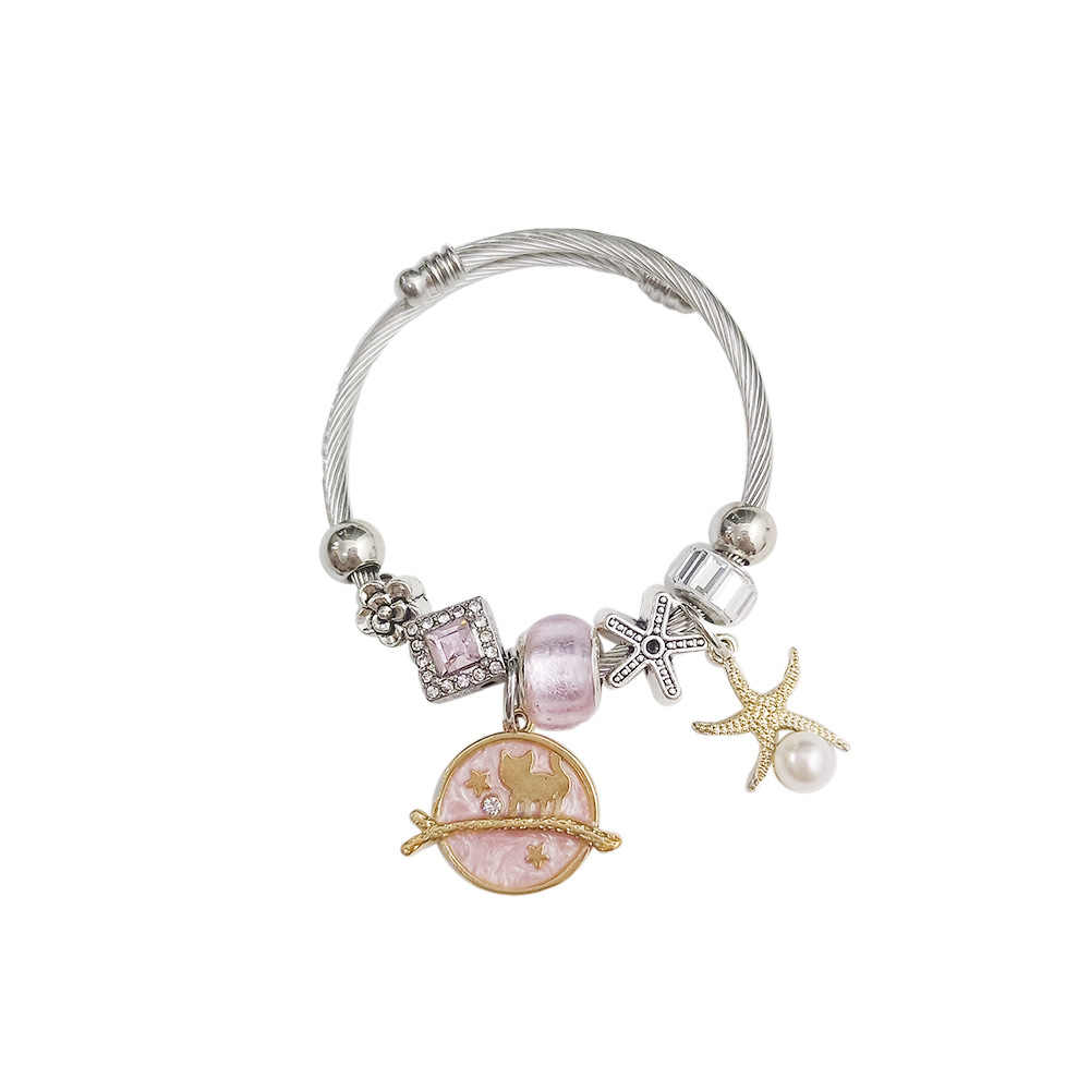 Summer Chic Colorful Starfish Planet Pendant Beads Bracelets Charm Stainless Steel Chain Bracelet Wholesale