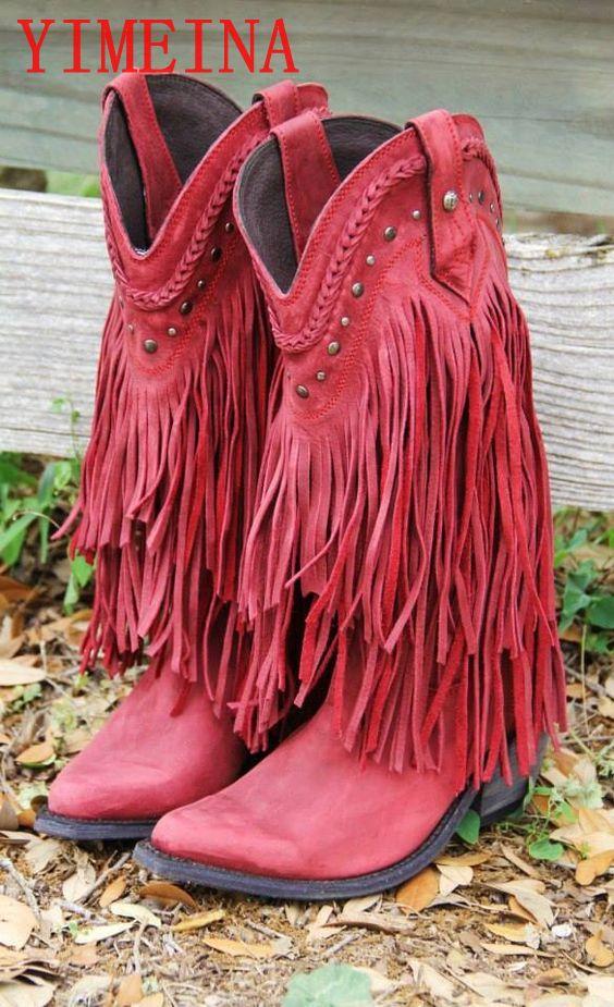 basso Stile della boemia Gladiatore Donne Meta polpaccio Tacco Basso Moto Stivali Con Frange Stivali Da Cowboy Scarpe Primavera Autu