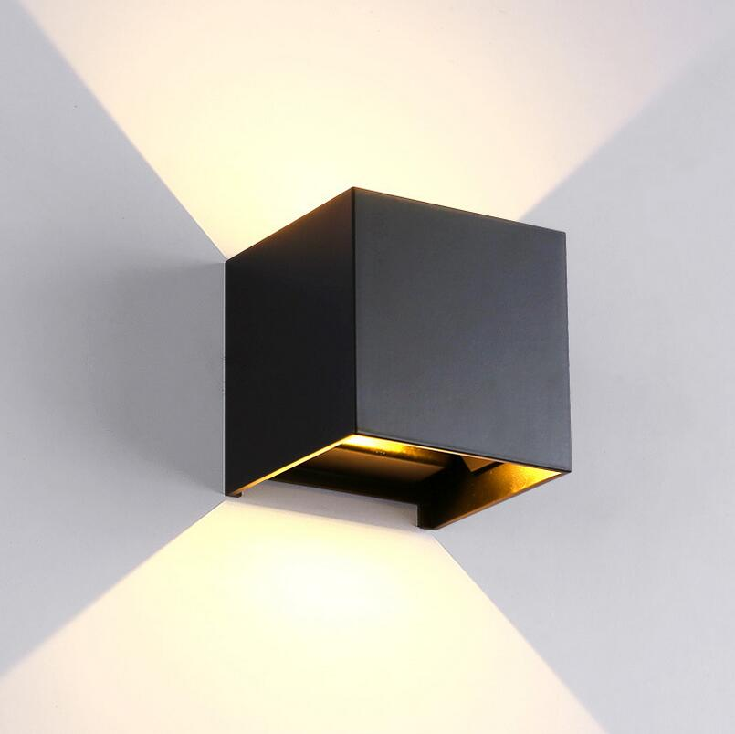 Modern Brief Cube Adjustable Surface Mounted 12W COB LED Wall Lamps Indoor Waterproof IP65 Aluminum Wall Lights Garden Lights modern acryl aluminum 4 heads led 12w mirror lamps for bathroom aisle 65cm waterproof ip65 anti fog indoor wall lamps 1184