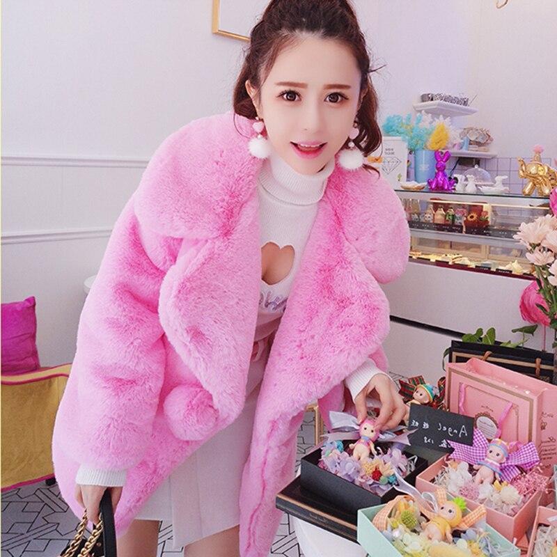 De 650 Col Automne Pink C Femmes Qualité Longues Fourrure Femelle Poches Mode Manteaux Manches Hiver Faux Nouveau Haute Chaud Épaissir V Outwear wI8SIRq