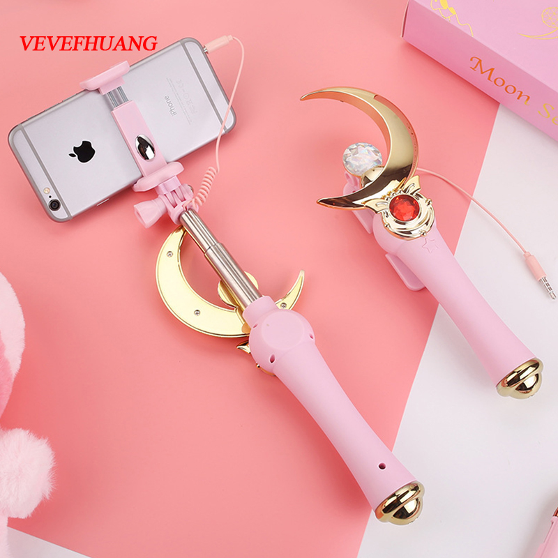 VEVEFHUANG sailor moon magic Henshin Wand Plastic Monopod Stick Rod selfie stick selfiestick Costume Props cosplay Gifts