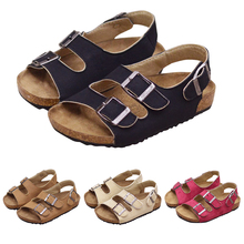 Boys Girls Sandals Shoes For Children Gladiator Glitter Soft Leather Buckle Beach 2019 New Roman Cork Non-slip P25