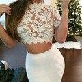 2016 Blanco de Ganchillo Crop Top Opacidad Tanque Camis Mujer Tops 5 Colores de Encaje Sexy Recortada Tops Para Mujeres PL0176