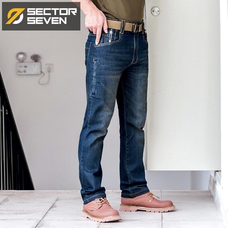 Sector Zeven Mannen Nieuwe Slim City Casual Jeans Midden Taille Rechte Denim Jeans Classic Indigo Blauw Zwart Jeans Wear slip-in Spijkerbroek van Mannenkleding op  Groep 3