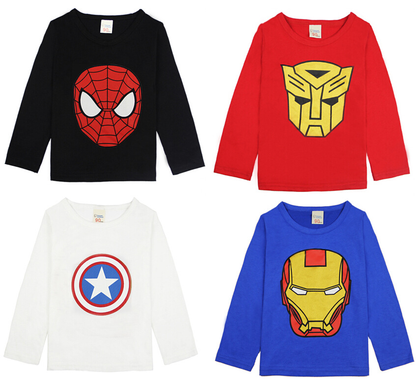 2018 Spring Autumn Girls T Shirt Long Sleeve Kids T Shirts Captain America Spiderman Supermant Shirt Toddler Boys Tops And Tees