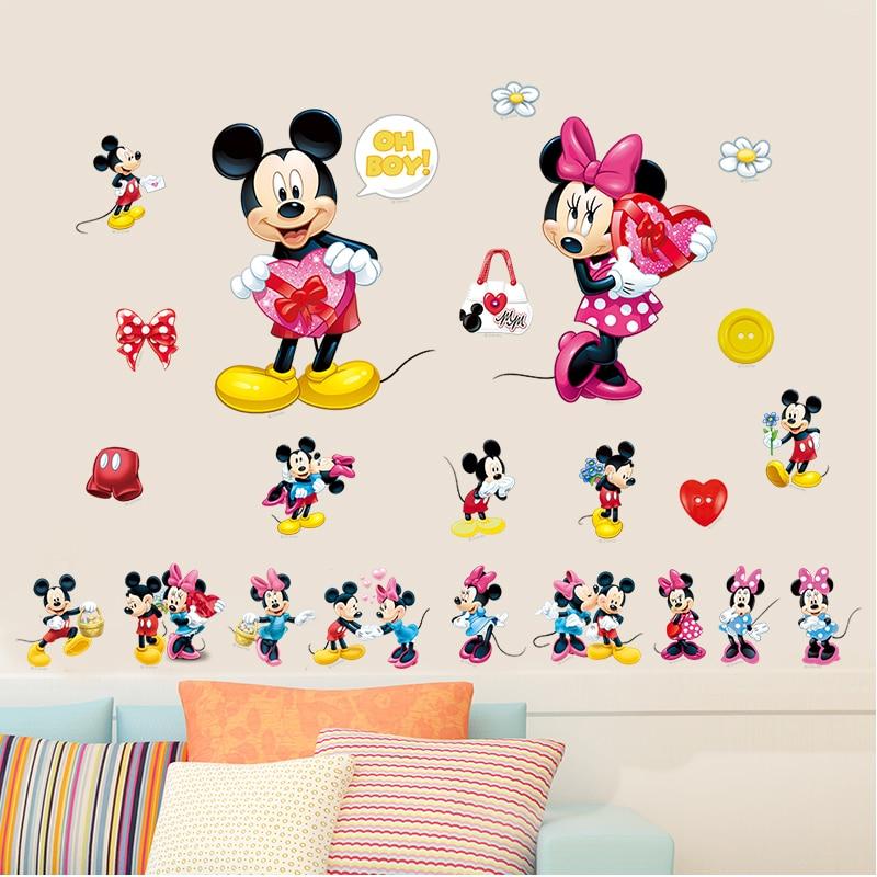 Karikatür Mickey Minnie Mouse hayvan OĞLAN Kız DIY çocuk bebek odası duvar sticker güzel sevimli renk kreş parti kaynağı hediyeler