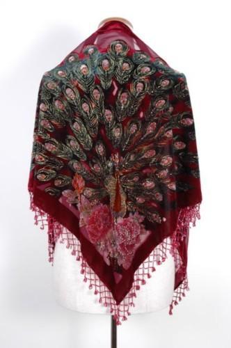 Hot Sale borgonha Women 's 100% veludo de seda Pashmina bordado frisado xaile triângulo Scarf Peafowl envoltório 165 x 76 x 76 cm C014