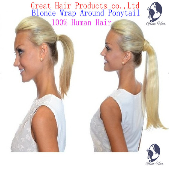 Great Hair  2016 year NEW product  Christmas  Additional Lengths Wrap Around Ponytail - 100% natural Humano Hair Free shipping