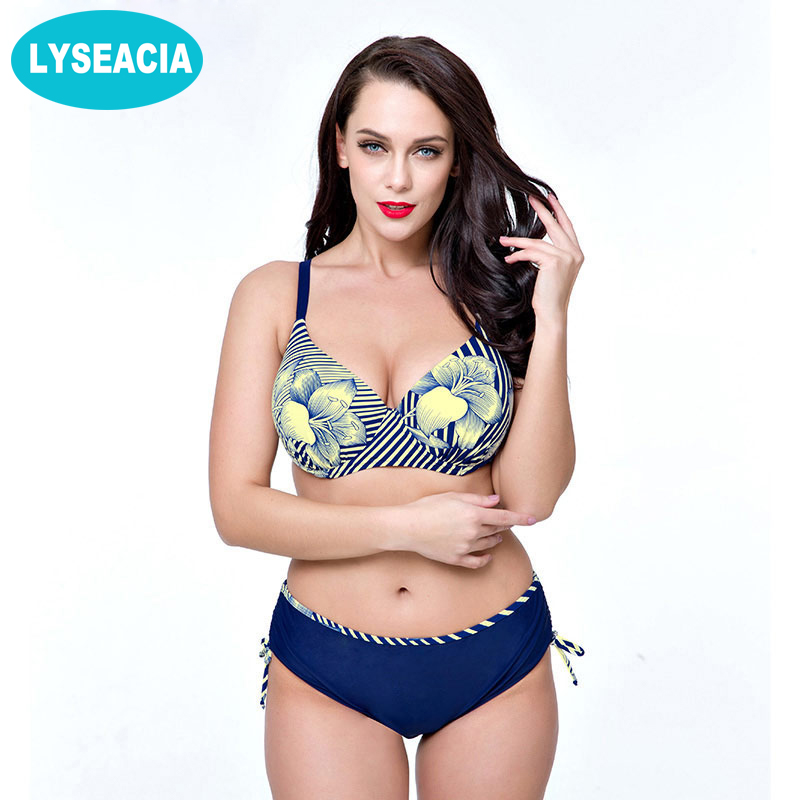 LYSEACIA 2017 Bikini set Push Up Large Size bikinis women swimwear Sexy Bathing Suits Women's Swimsuits Plus Size Bikinis Set swimwear 2018 push up bikini sexy plus size bikini set big cup women bathing suits swimsuits plus size swimwear bikinis women
