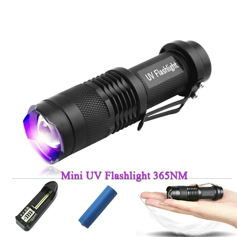 High quality AA or 14500 rechargeable battery 365nm uv LED flashlight Catch scorpion 395nm led uv flash light zoomable uv lamp