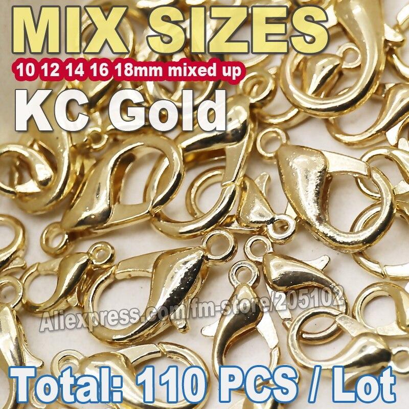110 шт. KC золото Mix Размеры застежкой омар для DIY ожерелье браслет-цепочка ювелирных аксессуаров выводы