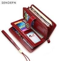 Sendefn Ultrathin Genuine Leather Wallet Female Short Wallet Women Card Holder Lady Coin Pocket Purse