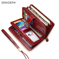 Sendefn Ultrathin Genuine Leather Wallet Female Short Wallet Women Card Holder Lady Coin Pocket Purse