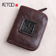 цена на AETOO Handmade leather wallet male short zipper vertical buckle buckle layer leather retro Japan and South Korea youth tide clip
